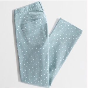 J. Crew Matchstick Jeans in Spearmint Polka Dot